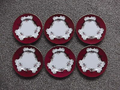 (899) Set of 6 Vintage Paragon China Tea Plates # Red White Floral Unknown Patt