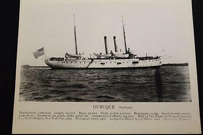 Military Ship Photograph Uss Dubuque (Pg-17) Real Photo (P747)