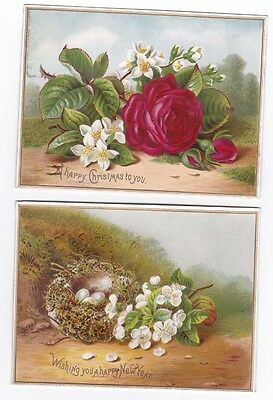 2 Raphael Tuck Victorian Cards Christmas & New Year Rose Flowers Bird Nest Poem