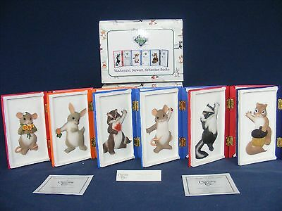 """6 CHARMING TAILS CHARACTER Figurine Plaques """"BOOKS"""" SPECIAL EVENT LTD ED Hinged"""