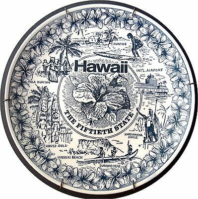 """Hawaii 50th State Collector Wall Plate Hula Girl Tiki 10"""" Mint Condition Vintage"""