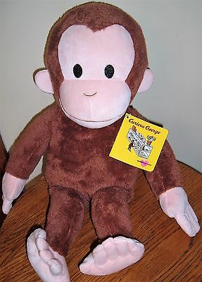 """Curious George Monkey Plush Stuffed Animal New With Tags 17"""" Tall"""