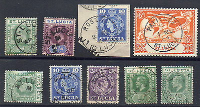 "ST. LUCIA : (14516) code ""D"", ""M"" etc postmarks/cancels"