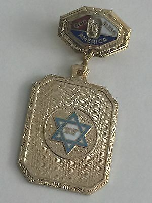 Vintage WWII US  JEWISH Sweetheart Enamel Pin HOME FRONT Jewelry STAR OF DAVID