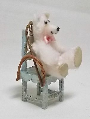 Dolls House Miniature Artisan V. Lux Toy White Bear and Highchair