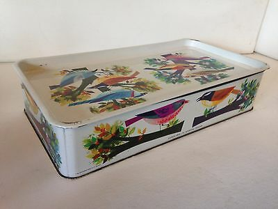 VINTAGE RETRO 1960s BIRD DESIGN CADBURY BROS LTD FILLED SEWING TIN 10.5 x6.5 x2""