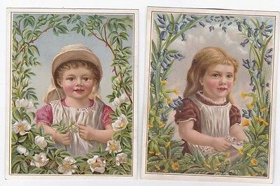 2 Tuck Victorian Cards Christmas & New Year Children in Flower Bower series 1278