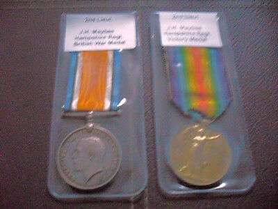 Ww1 Pair Officers Medals 2Nd Lieutenant J H Maybee Hampshire Regt.