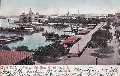Egypt - Port Said 1906 Postcard With Gb Stamps Cancelled Aden & Paquebot