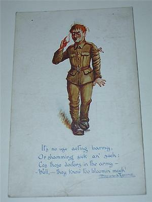 ITS NO USE ACTING BARMY - WW1, WWI MILITARY HUMOUROUS POSTCARD by Hayward Young!