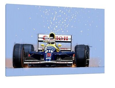 Nigel Mansell 30x20 Inch Canvas - Williams Framed Picture F1 Poster
