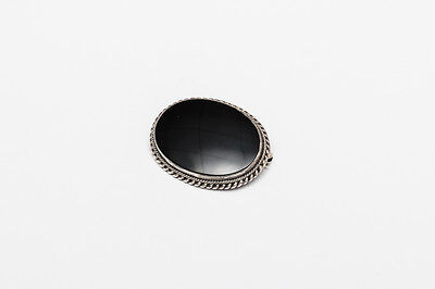 Vintage Southwest Sterling Silver Black Onyx Brooch Pin Black Oval Large Small
