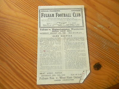 FULHAM v WOLVES 1945/6 Football League South