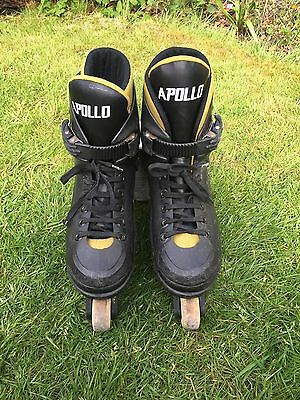 Apollo 500 Inlines Roller Blades Skates Lace Up Black Yellow Size 2 - 3 Used