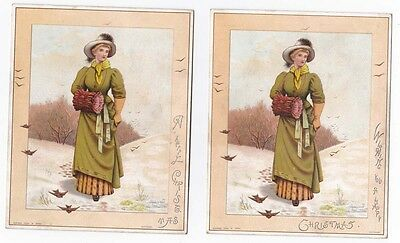 2 Victorian Christmas Cards Raphael Tuck Pretty Lady with Muff in Snow Scene HMB