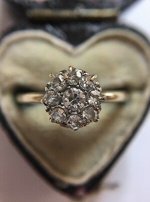 Antique Victorian 18ct 18k  Yellow Gold Diamond Cluster Ring Flower Head