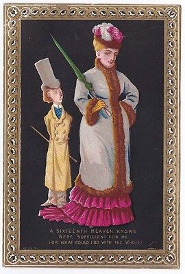 Victorian Comic Vinegar Valentine Card Large Lady Small Man Gold Gilded Border