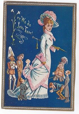 Victorian Comic Vinegar Valentine Card Lady Goddess with Admiring Caracature Men