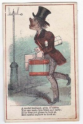 Victorian Comic Vinegar Valentine Card Gawky Young Man A Model Husband c 1870s
