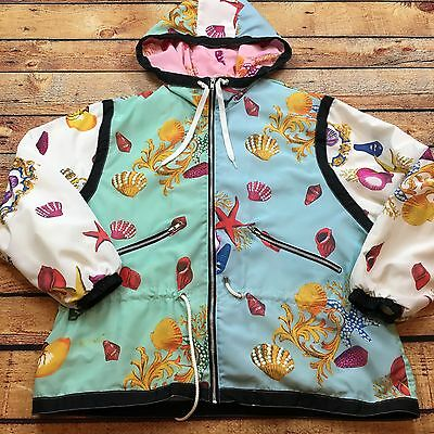 90s VTG BAROQUE SEA SHELL Windbreaker COLORBLOCK TRACK SUIT Jacket L BOMBER Hood