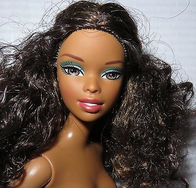 Nude Barbie ~Curly Brunette Raven Brown Eyes Aa Diaries Tia Mattel Doll For Ooak