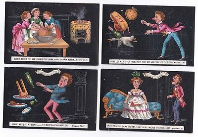 4 Victorian Comic Cards Christmas & New Year Shakespeare Macbeth Quotes c 1870s