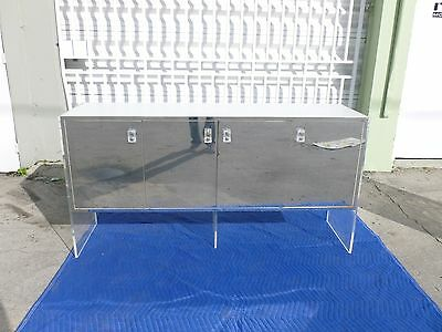 70'S Lucite Slab Sided Buffet With Mirrored Doors And Laminate Top P