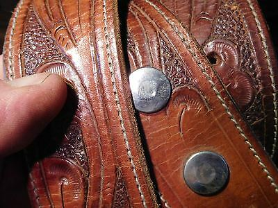 VTG Hand Tooled Thick Brown Distressed Leather Western Belt Great Patina 34