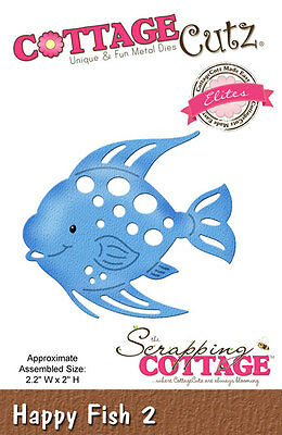 "Cottage Cutz Metal Die Cut Happy Fish 2 Approximately 2.2""x2"""
