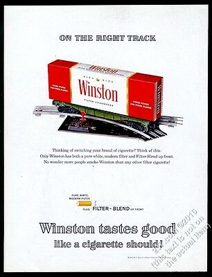 1963 Winston cigarettes cigaratte carton as train set boxcar photo vintage ad