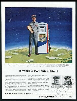 1957 Atlantic Imperial gas pump gasoline station attendant photo vintage ad