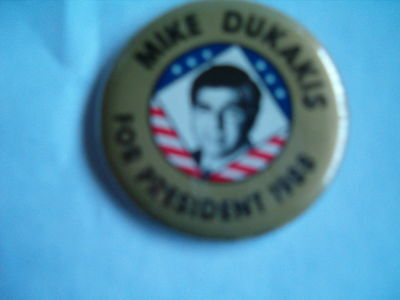 Mike Dukakis For President 1988 Pin