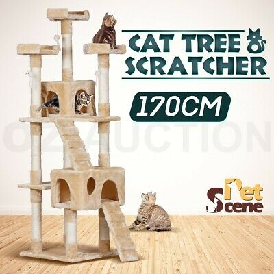 170cm Multi Level Climbing Cat Tree Scratching Post Pole Gym House Furniture