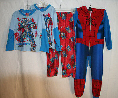 Mixed PAJAMA Lot Boys sz S (6) Spiderman One Piece and Sets