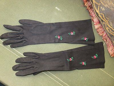 vintage west germany long black gloves embroidered roses flowers