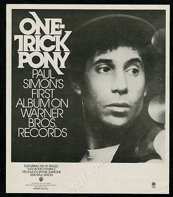 1980 Paul Simon photo Late In The Evening song release vintage print ad
