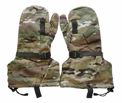 Military MultiCam Cold Weather Hunting Skiing Mitten Leather Gloves & Liner L