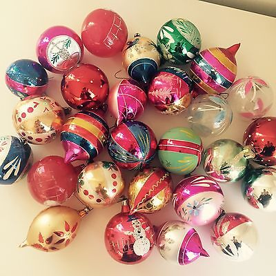27 VINTAGE CHRISTMAS GLITTER Hand Painted GLASS ORNAMENTS LOT POLAND!