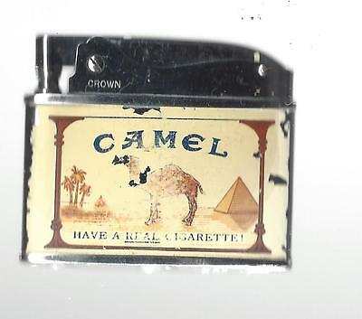 """Vintage Crown Lighter Advertising """"Camel Have a Real Cigarette"""" Working Conditio"""