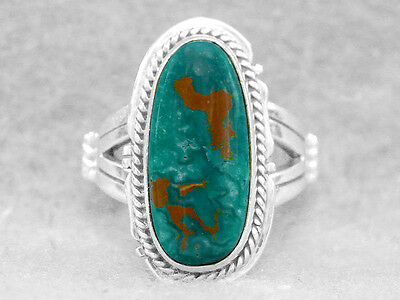 Navajo Ring Turquoise Manassa Size 6 Sterling Silver Native American Indian Z