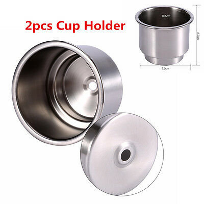 Universal 2pcs Stainless Steel Cup Drink Bottle Holder Base For Car Marine Boat