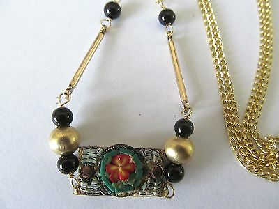 HANDCRAFTED ITALIAN MICRO MOSAIC w/ONYX-GOLD BEADS DESIGNS PENDANT GOLD NECKLACE