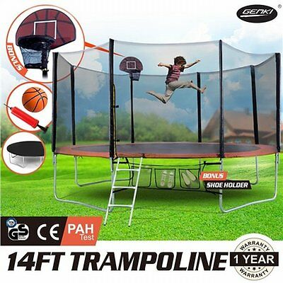 NEW 14FT GENKI Trampoline Basketball Set and Safety Net with Spring Pad Cover