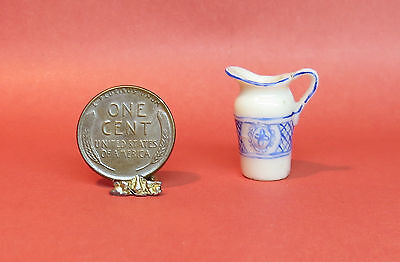 Dollhouse 1:12 Scale, Hand Painted Blue/White Pitcher OOAK
