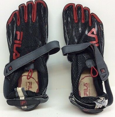 Mens Fila Skele-Toes Leather Textile Black/red Size 10