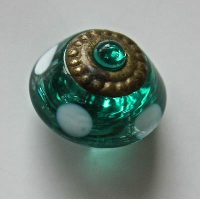 Anique Emerald Green Bubble Top, Brass Ring Ome, Polka Dot Charm String Button