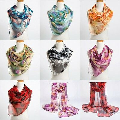 All Season Women Ladies Long Scarf Shawl Fashion Leaves Print Long Scarves