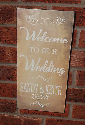 Shabby vintage chic Wedding Welcome Sign Personalised Rustic Brown Easel Sitter