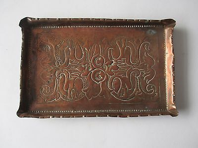 1897 Arts And Craft Style Handmade Copper Tray