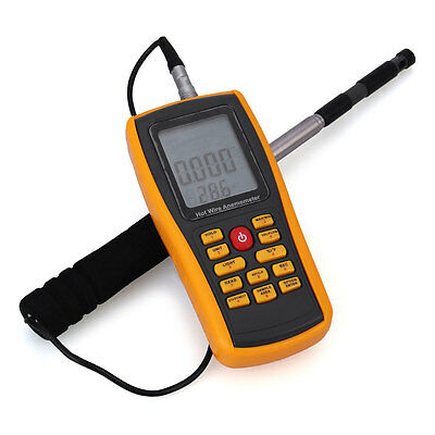 Digital LCD Wire Thermistor Thermal Anemometer Wind Speed Temperature Meter TOP